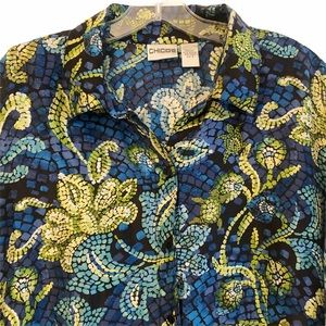Chico's Colorful Silk Mosaic Blouse 16